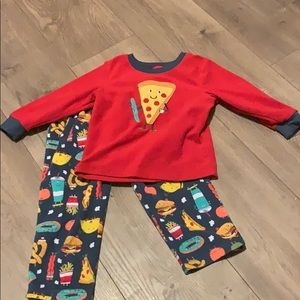 Carter's 2t food print fleece pajamas